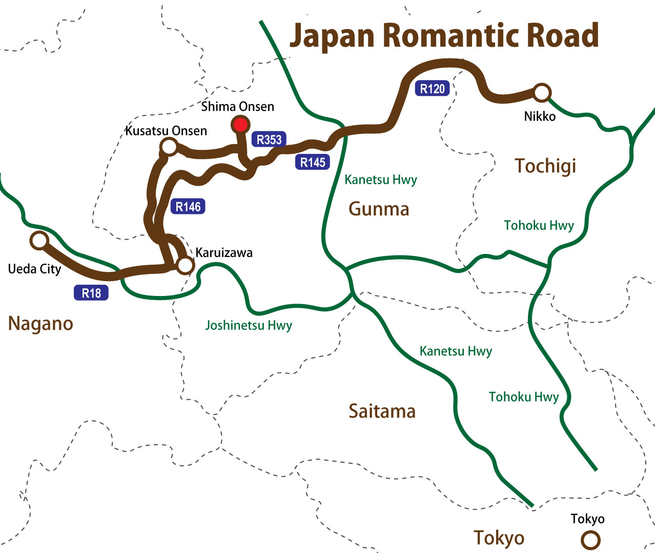 Japan Romantic Road Travel To The Countryside By A Car - Japan map road