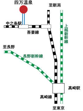 四万温泉への電車用地図