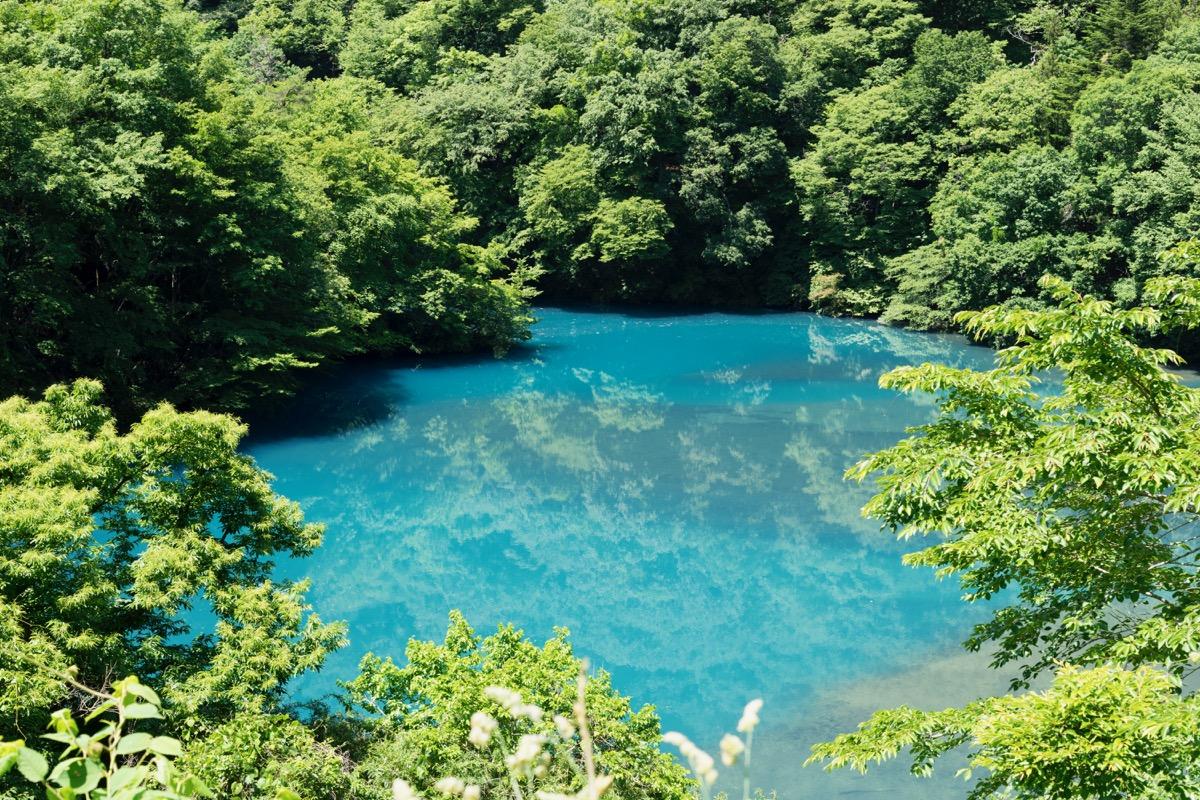 透明度抜群、緑に囲まれた「四万湖」