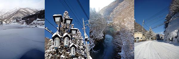 四万温泉で雪の写真