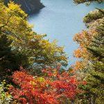 奥四万湖の紅葉のピークはこれからです