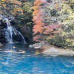 桃太郎の滝は四万温泉柏屋旅館のすぐ近く、お散歩に