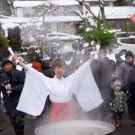 毎年大寒の日は四万温泉の「湯立祭」です