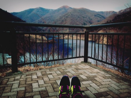 奥四万湖でジョギング