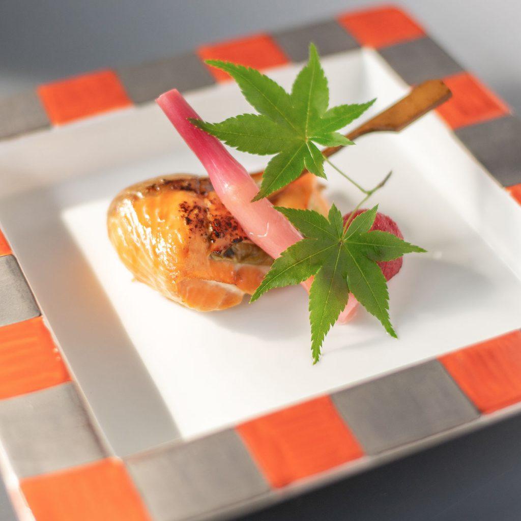 県産赤鱒と赤茄子挟み焼き