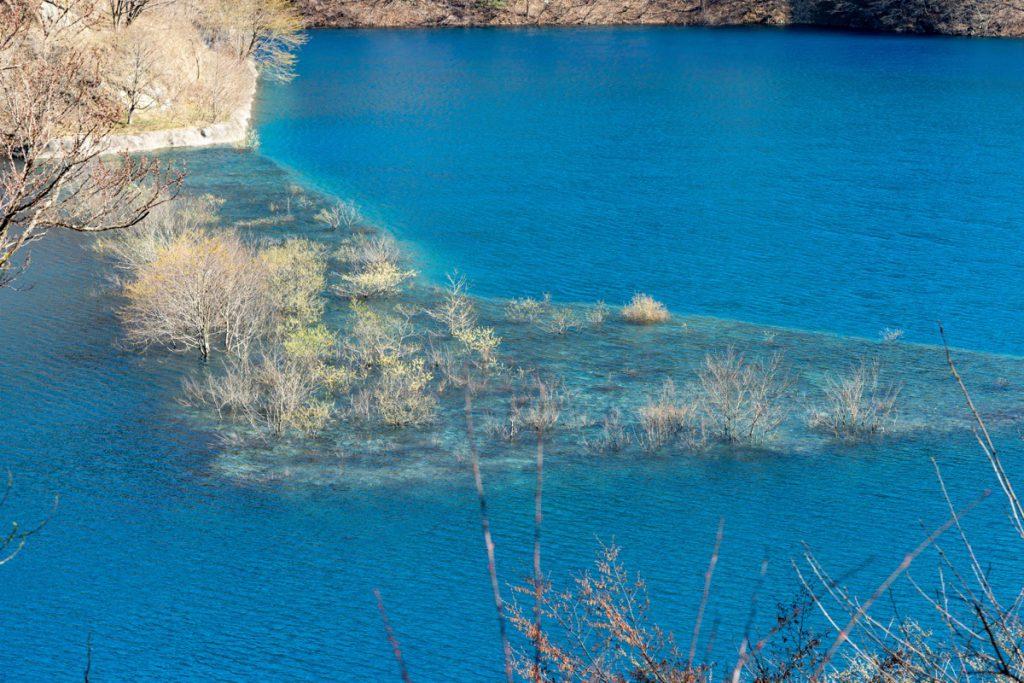 春限定、奥四万湖の浮島