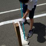桐の木平河川敷駐車場ライン引き