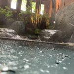 雨の中の貸切露天風呂