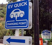 四万温泉の電気自動車の急速充電