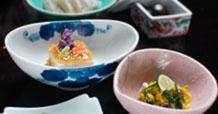 アーモンド豆腐、酢浸し、花まめ